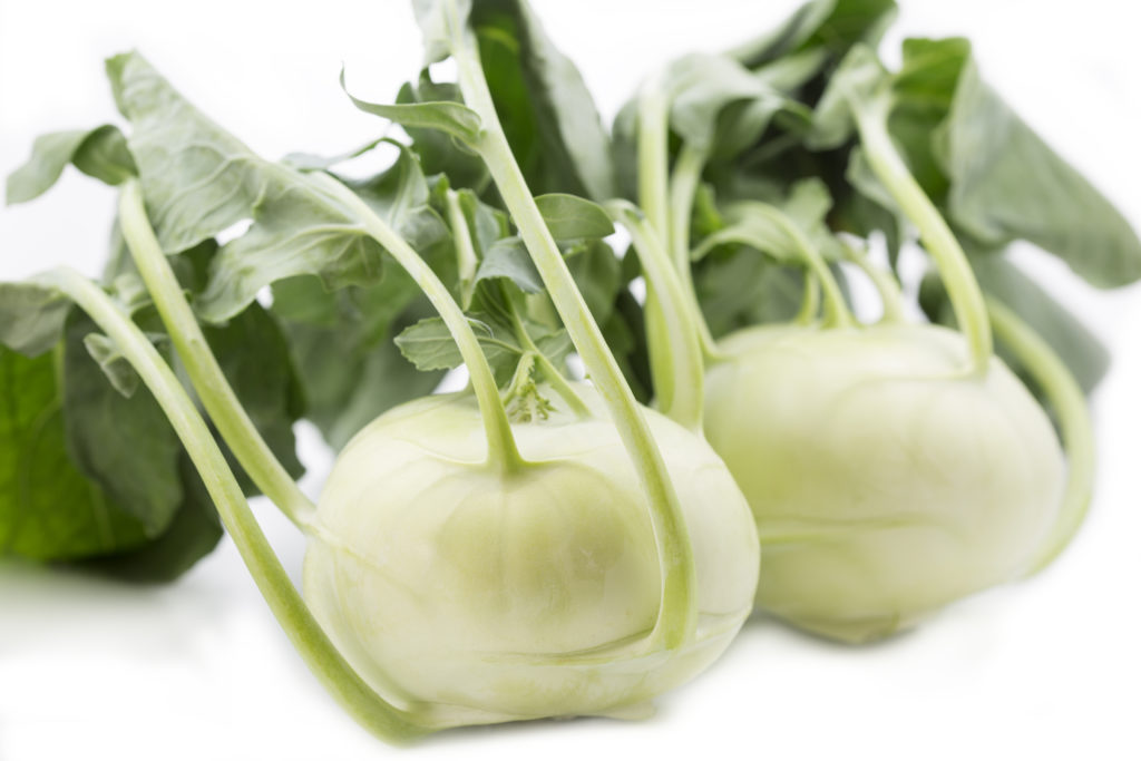 Two fresh Kohlrabi, closeup shot with shallow DOF