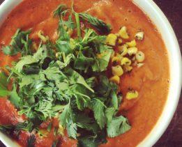 Суп-пюре из запеченного перца с кукурузой