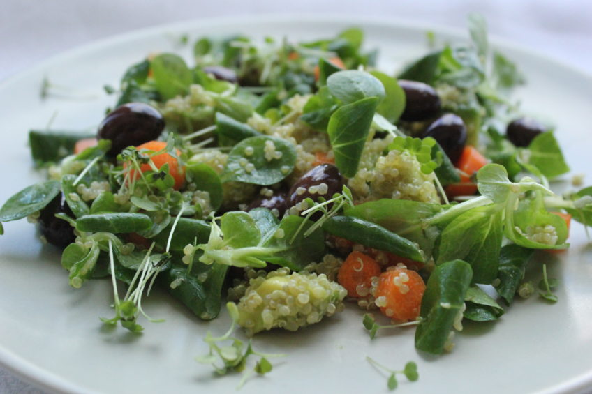 Салат из киноа, оливок и авокадо