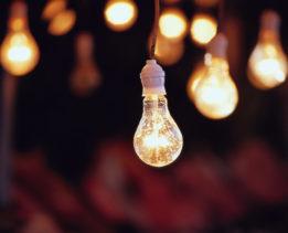 Illuminated Light Bulbs --- Image by © David Buffington/Corbis