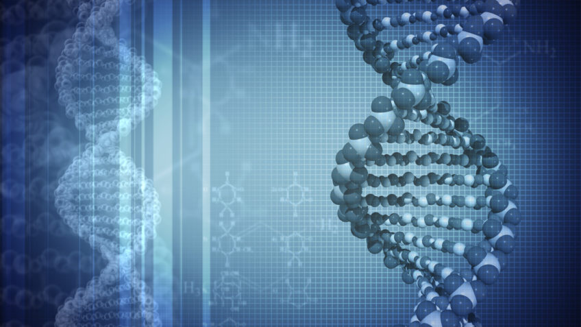 DNA blue background with formulas