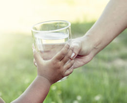 Woman hand giving glass of fresh water to child in the park,soft color filter